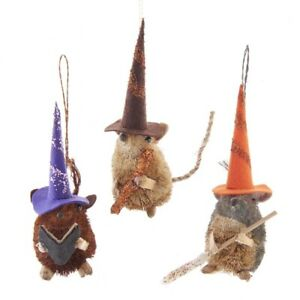 Set of 3 Halloween Buri Mouse Ornaments in Witches Hats HW1835
