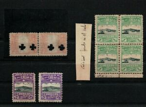 Uruguay 1909 lighthouse fortress varieties error die color paper
