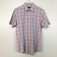 Zachary Prell Mens Shirt Short Sleeve Red Gray Plaid Button Down XL