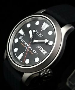 Seiko 7s26 02J0 Military Watch SP450 Mod MOVEMENT UPGRADED to NH36 Waffle Strap