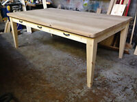 BESPOKE HANDMADE OAK AND PINE TABLE - DINING / KITCHEN 38MM THICK OAK TOP