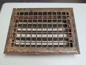 Vintage Metal Square Grid Floor Grate w/ Damper FREE SHIP