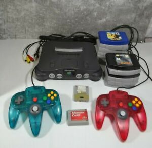 Nintendo 64 Charcoal Gray Console Bundle w/ 2 OEM Controllers, 13 Games + Extras