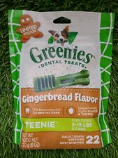New listing Greenies (Lot Of 2) Gingerbread Flavor Teenie Dental Dog Treats Pack /22Count=44