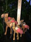 (3) Vintage CAMELS Wood Carved Figurines Caravan Nativity Set Items Animals