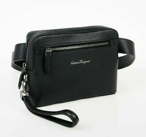 Brand New Salvatore Ferragamo Men Black Leather Crossbody Bag $850