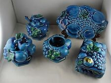 5 Pcs. Mood Indigo Inarco Japan Blue Pottery - Marmalade, Covered Box, Dish++