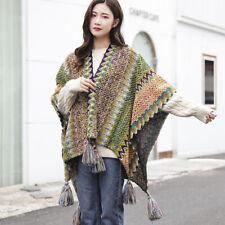 Women Check Batwing Fringe Shawl Cape Cloak Ethnic Knitted Poncho Bohemian