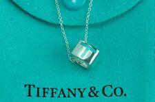 "Tiffany & co. 92.5% Silver T&CO  Cube Blue Enamel Pendant 16.93"" Necklace"