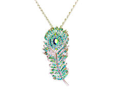 Peacock Feather Necklace Pendant Charm Emerald Color Green AB Rhinestone Crystal