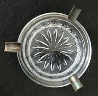VINTAGE Pressed Glass Ashtray with Silver Plated Cigarette Rest Trim Ring