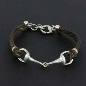 Gucci Leather Braided Horsebit Silver Bracelet