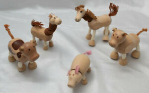 Anamalz Wooden Toys - Lot of 5 Farm Animals - Horse, Pig, Cow, Bull, Llama