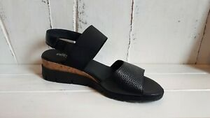 Effergie Basque Black Leather Wedge Sandals BRAND NEW