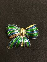 Park Lane Blue & Green Enamel Gold Tone Bow Brooch Pin Festive Bold FS