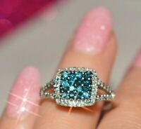 Estate 10K Gold Over Blue & Diamond Halo Engagement Cluster Setting Ring