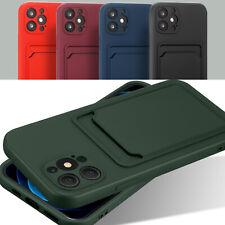 Handy Schutzhülle Kartenfach Hülle für iPhone Silikon Slim Fit Cover TPU