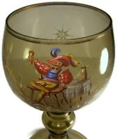 "Antique Moser Bohemian Glass 11"" Chalice Handpainted with Cavalier Tavern Scene"