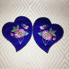 Antique Chinese Heart Shaped Ear Warmers / Embroidered Silk