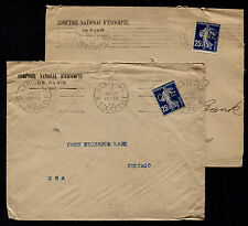 X2 1914 France Paris to USA Comptoir National D'Escompte CNE Perfins Covers