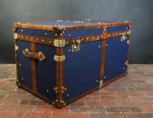Antique Handmade English Tan Leather Coffee Chest Coffee Table Trunk Box TR