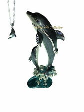 Dolphin and Baby Dancing Bejeweled Trinket Box