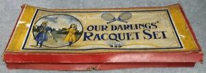 EMPTY Cardboard Sales Box for Our Darlings Racquet Set Game Antique