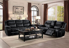 Modern Living Room Furniture Black Faux Leather Reclining Sofa Loveseat Set IF6A