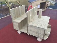 KIDS WOODEN TRACTOR/ CAR/ TRAIN TREATED EN1176. NURSERY COMMERCIAL PLAY UNIT