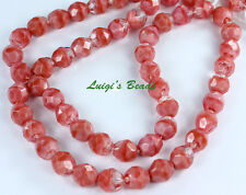 25 Coral Pink/Crystal Czech Firepolish Faceted Round Glass Beads 8mm