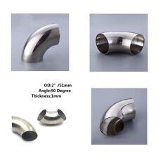 """2"""" inch/51 mm 201 acier inoxydable 90 Degré Coude Elbow pipe épaisseur: 1 mm 1 pièce"""