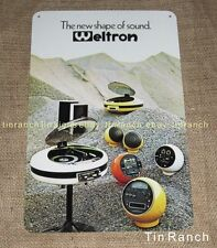 vintage WELTRON TIN SIGN retro GEC 2007 space age STEREO record player advert