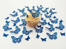 48 Edible Royal Blue Butterflies Pre Cut Wafer Cupcake Toppers