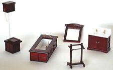 Wooden Mahogany Bathroom Doll House Furniture Set