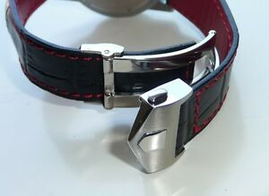 22mm Carrera Monaco Band Strap RED STITCHING with Deployment Clasp for Tag Heuer