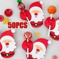 50Pcs Hot Fashion Cute Christmas Lollipop Santa Paper Holder Xmas Party Decor
