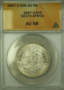 1897 South Africa 2.50 Shillings Coin ANACS AU 58