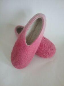 Thick Ombre Pink 100% wool Felt Houseshoe Custom New Handmade US merino Slippers