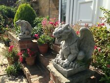 PAIR of Grotesque Gargoyle Statues,garden stone ornaments,Mythical Being Figures