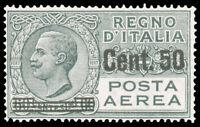 Italy 1927 50c on 60c GRAY AIR POST #C10 CV$50.00