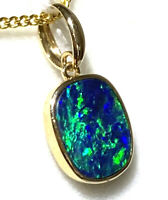Solid 14k Yellow Gold Boulder Doublet Opal Pendant From QLD Free Jewellery Box