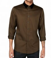 INC Mens Wren Brown Size 2XL Velvet Collar Button Down Long-Sleeve Shirt $69 064