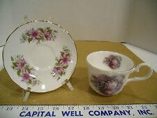 Argyle Bone China Purple Floral Tea Cup w/Queen Anne Mismatched Saucer - EUC