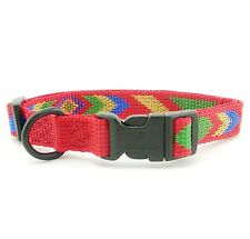 "HAMILTON ""Fits All"" Adjustable Nylon Dog Collar, Small, Red Navajo Pattern"