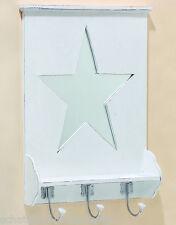 Vestiaire mural blanc étoile miroir crochet 3 bois Maison de campagne
