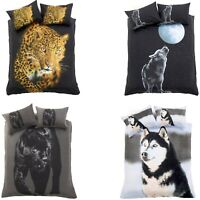 3D Effect Animal Print Duvet Cover & Pillowcases Bedding Set Single Double King