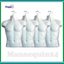 4 Mannequin Male - Lot of 4 White Plastic Male Hanging Body Forms with 4 Hangers