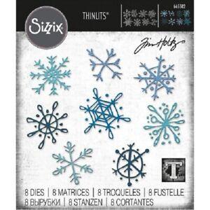 SIZZIX® THINLITS DIE SET 8PK - SCRIBBLY SNOWFLAKES by TIM HOLTZ™ FREE UK P&P