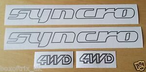 2 x VW Syncro + 2 x 4WD Vinyl Stickers - Choice 25 Colours - T4, T5, T25 Camper
