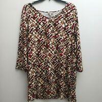 J Jill Wearever Knit Top XL Red Brown Black Geometric 3/4 Sleeves Basic NWT